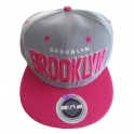 "Casquette New York ""Brooklyn"" grise et rose"