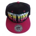 Casquette New York noire et rose