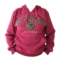 Sweat Shirt (Hoodie) à capuche San Francisco rose chiné