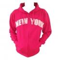 Sweat Shirt (Hoodie) à capuche New York rose