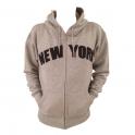 Sweat Shirt (Hoodie) à capuche New York gris