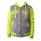 Veste à capuche New York gris clair / jaune fluo