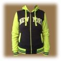 Veste à capuche New York gris foncé / jaune fluo