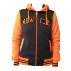 Veste à capuche New York gris anthracite / orange fluo