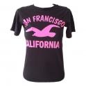 T-Shirt Femme San Francisco noir et rose