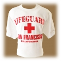 "T-Shirt San Francisco ""Lifeguard"" blanc et rouge"