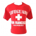 "T-Shirt San Francisco ""Lifeguard"" rouge et blanc"