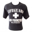 "T-Shirt San Francisco ""Lifeguard"" gris anthracite et blanc"
