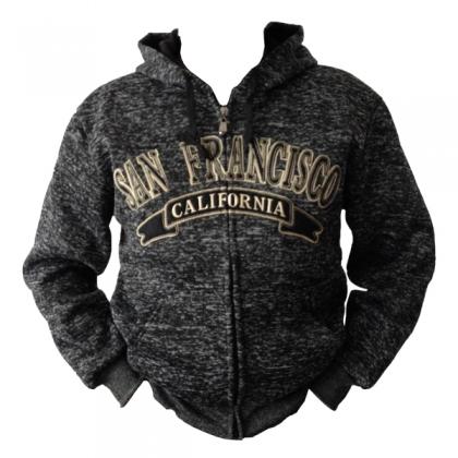Sweat Shirt (Hoodie) à capuche San Francisco noir chiné