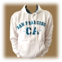 Sweat Shirt (Hoodie) à capuche San Francisco blanc/turquoise (carreaux)