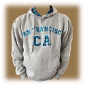 Sweat Shirt (Hoodie) à capuche San Francisco gris/turquoise (carreaux)