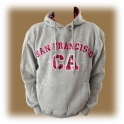 Sweat Shirt (Hoodie) à capuche San Francisco gris/rose (carreaux)