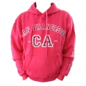 Sweat Shirt (Hoodie) à capuche San Francisco rose (carreaux)
