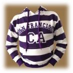Sweat Shirt (Hoodie) à capuche San Francisco rayé blanc/violet