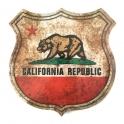 """Plaque Métallique """"California"""" vieillie"""
