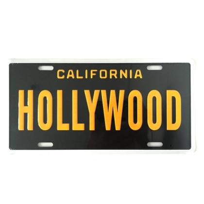 Plaque Métallique Hollywood Noire