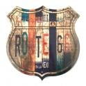 """Plaque Métallique Route 66 """"Logo"""" Etats"""