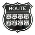 """Plaque Métallique Route 66 """"Logo"""" Noire"""