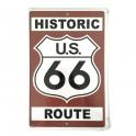 """Plaque Métallique Route 66 """"Historic"""" marron"""