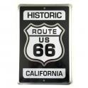 """Plaque Métallique Route 66 """"Historic"""" noir"""