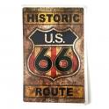 """Plaque Métallique Route 66 """"Historic"""" vieillie"""