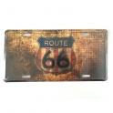 "Plaque Métallique Route 66 ""Logo"" Vieillie"