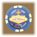 Jeton de casino aimanté Las Vegas $1 bleu ciel