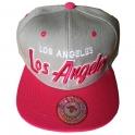 Casquette Los Angeles rose et grise