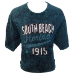 "T-Shirt Miami ""South Beach"" turquoise brodé"