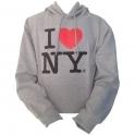 "Sweat Shirt (Hoodie) à capuche ""I Love New York"" gris"