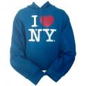 "Sweat Shirt (Hoodie) à capuche ""I Love New York"" turquoise"