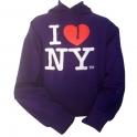 "Sweat Shirt (Hoodie) à capuche ""I Love New York"" violet"
