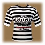 """T-Shirt Alcatraz """"The Rock"""" rayé noir et blanc"""