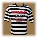 """T-Shirt Alcatraz """"Psycho Ward"""" rayé noir et blanc"""