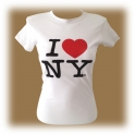 "T-Shirt femme col rond ""I Love New York"" blanc"