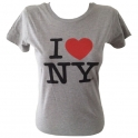 "T-Shirt femme col rond ""I Love New York"" gris"