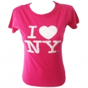 "T-Shirt femme col rond ""I Love New York"" rose"