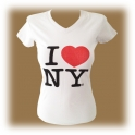 "T-Shirt femme col en V ""I Love New York"" blanc"