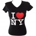 """T-Shirt femme col en V """"I Love New York"""" noir"""