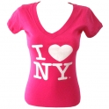 "T-Shirt femme col en V ""I Love New York"" rose"