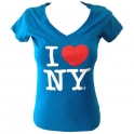 "T-Shirt femme col en V ""I Love New York"" turquoise"