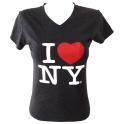 "T-Shirt femme col en V ""I Love New York"" gris anthracite"