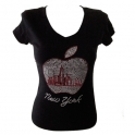 "T-Shirt femme Strass ""Big Apple"" noir"