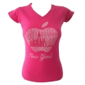 "T-Shirt femme Strass ""Big Apple"" rose"