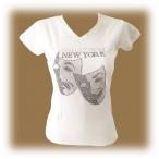 """T-Shirt femme Strass """"Broadway"""" blanc"""
