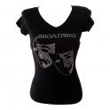 """T-Shirt femme Strass """"Broadway"""" noir"""