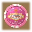 Jeton de casino aimanté Las Vegas $500 rose