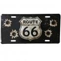"""Plaque Métallique Route 66 """"Logo"""" argent"""