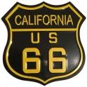 """Plaque Métallique Route 66 """"Logo"""" Noir et Orange"""