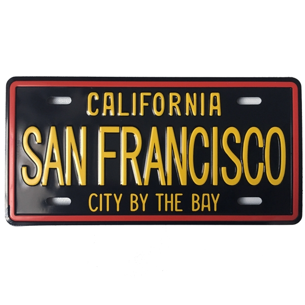 magnet san francisco plaque immatriculation noir et jaune all in usa. Black Bedroom Furniture Sets. Home Design Ideas